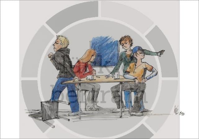 Mit Hilfe von 9 Cartoons des Illustrators KM Grebe kann die Konflikttheorie nach Friedrich Glasl anschaulich gemacht und nachvollzogen werden. Erfolgreiche Deeskalation braucht Wissen über Eskalation.